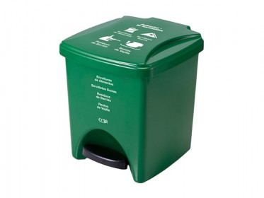 Papelera Pedal 20 Litros Verde Residuos No Reciclables Marca Estra 235375D-1005